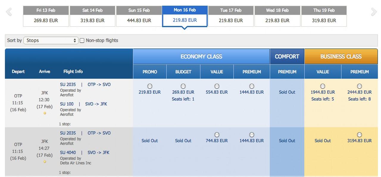 Promotie New york 412 euro Aeroflot 2