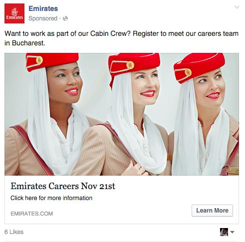 Job de stewardesa la Emirates